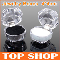 Wholesale Transparent Jewelry Boxes Holder cm For Rins Earrings Stud Dust Plug Crystal Acrylic Wedding Gifts ZB0005