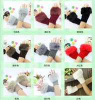 Wholesale Fashion Autumn and winter Warmer Fingerless Gloves Knitted Fur Trim Gloves Mitten imitation rabbit fur gloves knitting gloves more color