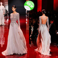 Reference Images Scoop Chiffon 2014 famous Elie Saab hot sale crystal stone beaded with scoop long sleeve sexy backless sheer high quality formal evening prom dresses