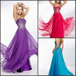 Wholesale Wonder Sexy Purple Red Sky Blue Chiffon Prom Dresses Dazzling Rhinestones Strapless Long Party Dress A Line Floor Length Hoemecoming Gowns