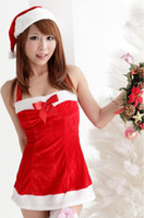 Wholesale Christmas Sexy Costumes Adult Women Santa Claus fantasy women with Sensual Coquette Strapless set