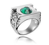 Wholesale Korean Fashion Exaggerated Green Lantern Rings Austrian Crystal Wedding Rings For Women Branded Design K White Gold Plated
