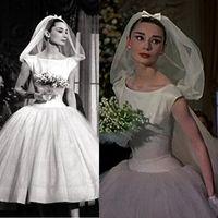 audrey hand - 2014 Vintage Christmas A Line Bateau Neckline Cap Sleeve Tea Length Tulle over Taffeta Wedding Dresses Inspired By Audrey Hepburn Dhyz