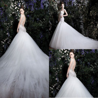 Trumpet/Mermaid Reference Images Sweetheart Luxury Elegant Sweetheart Mermaid Trumpet Organza Backless Lace Zuhair Murad Garden Church Wedding Dresses With Long Train And Cap Sleeves