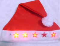 Wholesale Red Led Flashing Christmas Hats XMAS Santa Caps Christmas Decoration Light Up Caps Non woven Christmas Cap JY60