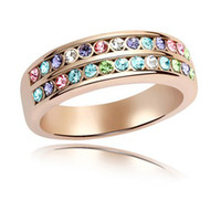 Wholesale Women s Crystal Jewelry Rose Gold Ring make with Swarovski Elements colors