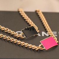 Wholesale Intelligence sharing exaggerated retro fashion geometry box drip thick metal chain short clavicle chain necklace female jewelry