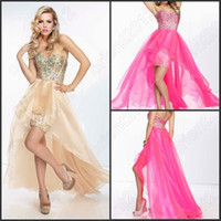 Wholesale Sexy Luxury Design Rhinestones Chiffon High Low Prom Dresses Sweetheart Party Dress Charming Cocktail Gowns