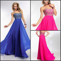 Wholesale Low Price Chiffon Evening Dresses A Line Sexy Rhinestones Strapless Floor Length Prom Dress Sleeveless Party Formal Gowns