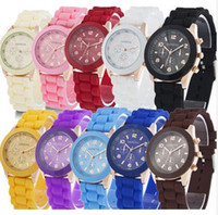 Wholesale Fashion Shadow Rose Gold Colored Style Geneva Watch Rubber Silicon Candy Jelly Fashion Men Wamen Silicone Quartz Watches