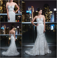 Wholesale Luxury Vogue Mermaid Lace Wedding Dress Bridal Gown Sweetheart Applique Crystals Beaded Train Sash With Chapel Train Covered Button Back