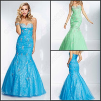 Wholesale Sky Blue Green Sexy Mermaid Evening Dresses Rhinestones Appliques Organza Sheath Celebrity Dress Sweetheart Lace Up Party Prom Gowns