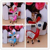 Wholesale Cute little donkey Crystal Keychain Charm Pendant Key ring key chain Car Key Bag Buckle Fashion gift