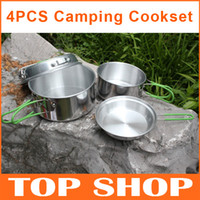 Wholesale Portable Camping Cookingset set Aluminum Alloy L L Pot inch inch Pan Cookware Set Pan Camp Kitchen