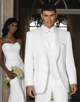 Wholesale New Design White Shawl Lapel Groom Tuxedos Groomsmen Best Man Suit Men Wedding Suits Bridegroom Suit Jacket Pants Vest Tie A