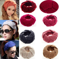Wholesale 5Pcs New Crochet Twist Knitted Headwear Headband Winter Warmer Hair Band Colors Free Ship CW05004
