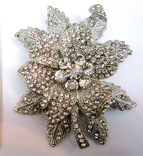 Extra Large Rhodium Silver Plated Vintage Look Fleur De Feuille Rhienstone Cryst