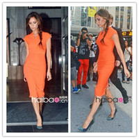 Wholesale 2013 New Fashion European amp America Ladies Elegant V neck Cap Sleeve Sheath Back Zip Pencil Causal Party Midi Work Dresses