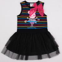 Wholesale H4469 Black Nova novel m y children girls tutu dress special occasion ballet peppa pig dance costume sequin lace stripe cupcake dress