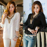 girls long sleeve shirts - Korean Women s Girl Long Sleeve Chiffon Shirt V Collar Bronze Flat Studs Tops Black White