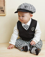 Spring / Autumn baby boy formal clothes - Retail Boy Baby Formal Gentleman Suit Cap Vest White T Shirt Top Pants Tie Set Children Long Sleeve Plaid Outfits Kids Clothing Set