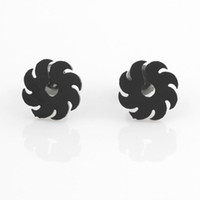 Wholesale 2013 New Arrival Pairs Black Screw Wind Wheels Style Earrings for Men Stainless Steel Studs Earrings