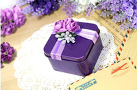 Wholesale 30Pcs Personalized Purple Candy Boxes Creative Candy Box Wedding Supplies