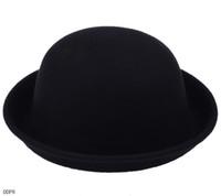 Wholesale Trendy Women Lady Cashmere Derby Bowler Hats Elegant Black Cloches Caps DDP8