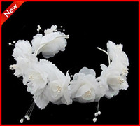 Comb Silk Flower  Hot Selling Free Shipping Tiaras & Hair Accessories Beautiful White Belly Dancing Tribal Party Wedding Costume Headdress Head Flower