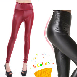 Wholesale Women s Faux Leather Pants High Waist Leggings Stitching Stretchy Leggings PU Leather Solid Pattern Tight Pants Trousers Free Size Colors