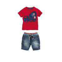 Boy Summer Short Retail Summer Casual Baby Boy Car Printed Short Sleeve Red T-Shirt+Blue Jeans Short Pants 2Pcs Suit Children Denim Outfits Kids Clothing Set