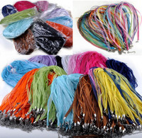Wholesale Mixed Color Silk Organza Ribbon Necklace Strap Cord Fashion Necklace NC47