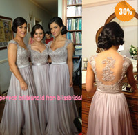 Reference Images lavender bridesmaid dresses - Hot Zuhair Murad V Neck A Line Cap Sleeve Chiffon Lace Beaded Coral Silver Lavender Purple Bridesmaid Dresses Cheap In Stock Evening Dresses