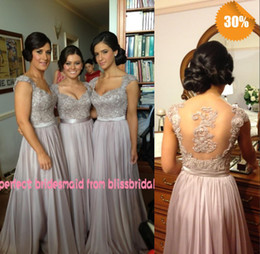 Hot Zuhair Murad V-Neck A-Line Cap Sleeve Chiffon Lace Beaded Coral Silver Lavender Purple Bridesmaid Dresses Cheap In Stock Evening Dresses