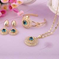 Wholesale Gold Pendant Jewelry Blue amp Black Rhinestone Hollow Out Necklace Jewelry set A202