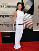 Cheap Wholesale - Free Shipping Megan Fox White Side Cowl Gown For Premiere Of Transformers in Westwood Celebrity Dresses Chiffon One Shoulder