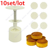 Wholesale 10 set New Moon Cake Mooncake Decoration Mold Moulds g Flowers Round Stamps DIY Tool