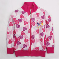 Wholesale F4286 Pink Nova fresh stock m y baby girls jackets kids winter clothing cartoon Peppa Pig hoodies heart shaped printing cheap girls coat