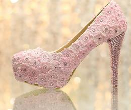 Promotion taille 34 talon rose Nouveau Élégant Douceur Rose Lace Bridal Shoes Super Haut Talon Plate-Forme De Chaussures De Mariage Taille 34-39 Partie Stiletto Talon Pompes