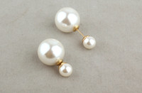 Wholesale New Arrival pairs Korea Style Gold Plated Alloy Double Pearls Ear Stud Earrings Hot Sale