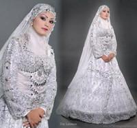 Wholesale 2014 Stunning High Qulity Vantage Islamic long sleevees Hijab Muslim wedding dresses Wedding Gowns HS0699