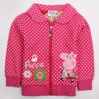 Jackets Girl Winter F4298# Pink Nova Kids winter coats 18m-6y baby girls fleece hoodies cartoon peppa pig & flower embroidery long sleeve polka dots jackets