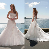 Wholesale 2014 Elegant Sexy A Line Appliques Flower Bead Strapless Organza Court Train Lace Up Cheap Wedding Dress Garden Wedding Wedding Dresses