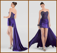 Reference Images Sweetheart Elastic Satin Cheap 2013 Sheath Sweetheart Beading Purple Cocktail Dress Strench Satin Short Party Gown Hi Low Sexy Mini Dresses Back Lace Up RibbonYC-9