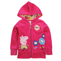 Wholesale F4356 Pink Nova new Kids winter coats m y baby girls polar fleece jackets cartoon clothing Peppa Pig flower embroidery hooded hoodies