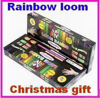 Wholesale Rainbow loom kit rainbow loom DIY rubber wrist bands bracelets with bands S clips Hook shell packaged