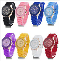 Wholesale Christmas gift Colourful fanshion shadow style Geneva watch rubber silicion Candy jelly men women Unisex Quartz Wrist Watches