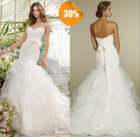 Wholesale 2014Sexy Sweetheart Mermaid Trumpet Galia Lahav Organza Lace Garden Beach Church Wedding Dresses Bridal Dress With Flower Sash amp Brush Train