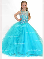 Wholesale 2014 New Little Girl s Pageant Dresses Crew Neck Tulle Ruffles Beaded Crystals Top Princess Flower Girl Dresses PA