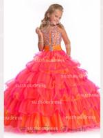 2014 la Nueva Niña del Desfile de Vestidos de Organza con Volantes en Capas con Cuentas de Cristales de la parte Superior de la Princesa Vestidos de Flores Niña PA 1528